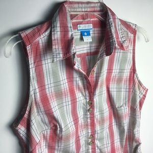 Columbia   Plaid Sleeveless Collared Blouse - Med